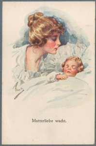 Old Artist S'd Postcard Mother and Sleeping Child - Maternity