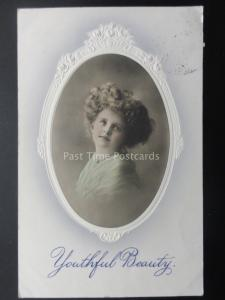 Young Child YOUTHFUL BEAUTY Embossed Portrait c1910 Postcard by Schwerdtfeger