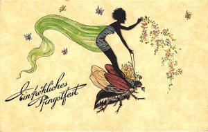 Beautiful Fantasy Flying Woman Riding  Bug Einfrohliches Pentecost Postcard