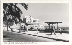 RPPC Vina Del Mar Hotel Municipal Miramar, Chile, 1957 Standard size Real Photo.