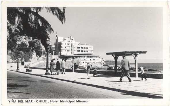 RPPC Vina Del Mar Hotel Municipal Miramar, Chile, 1957 Standard size Real Photo.