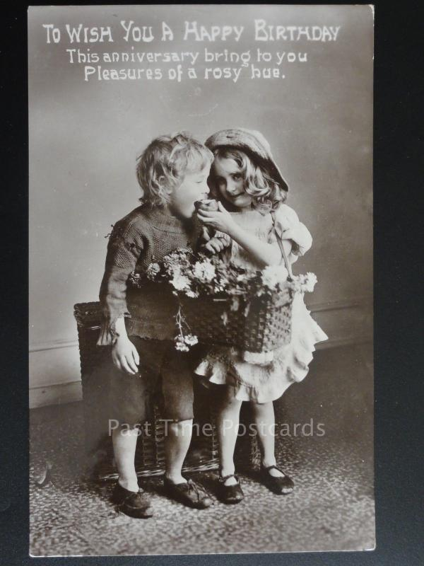 Greeting: Little Girl & Boy to 37 AUCHLAND ROAD Tunbridge Wells c1910 Postcard