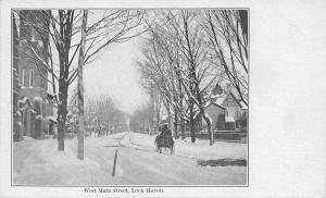 Lock Haven Pennsylvania~West Main Street Homes~Sleigh Ride in Snow~1905 B&W PC