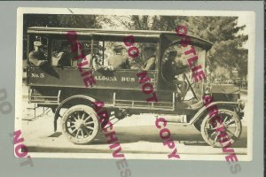 Algona IOWA RPPC c1915 ADVERTISING Taxi Cab BUS LINE Motor Bus DELIVERY TRUCK