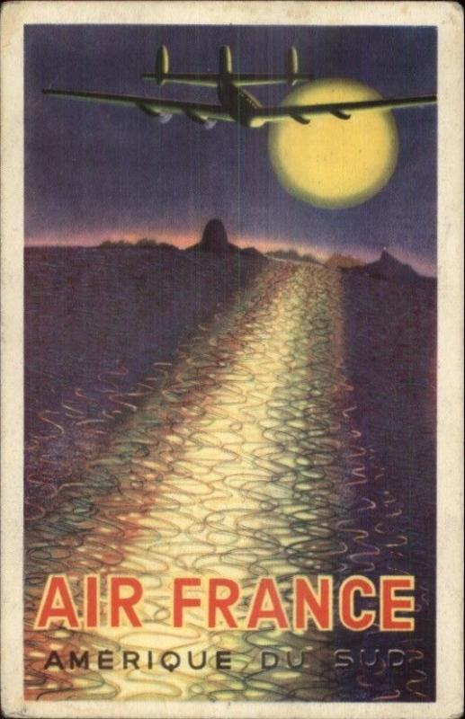 Commercial Aviation Poster Art Deco AIR FRANCE Airplane & Sunset ...