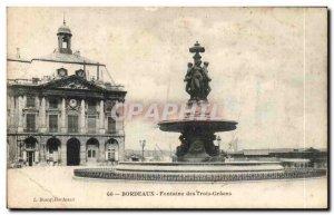 Old Postcard Bordeaux Fontaine Des Trois Graces