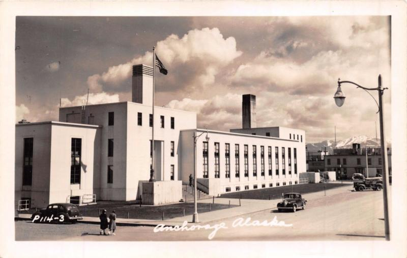 ANCHORAGE ALASKA~OLD FEDERAL BUILDING~REAL PHOTO POSTCARD 1940s