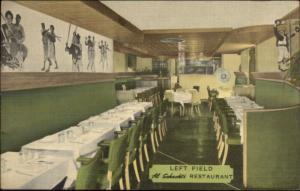 New York City Al Schacht's Baseball Restaurant LEFT FIELD Linen Postcard