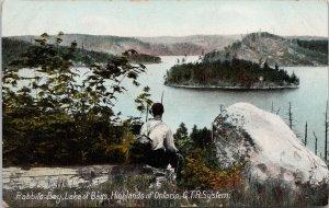 Rabbits Bay Lake of Bays Muskoka Ontario GTR System Postcard F36
