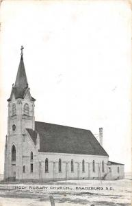 Kranzburg South Dakota Holy Rosary Church Street View Antique Postcard K101893