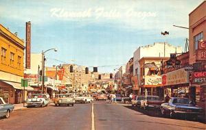 Klamath Falls OR Storefronts Business District Old Cars Postcard