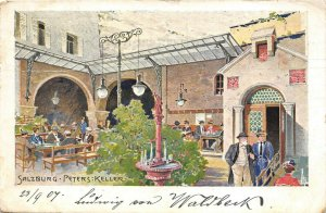 Salzburg Austria 1907 Postcard Peters Keller Restaurant Posted to USA
