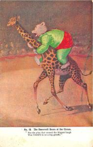 Roosevelt Bears At The Circus Giraffe #16 Advertising Postcard