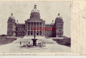 pre-1907 IOWA STATE CAPITAL (sp*) DES MOINES 1907