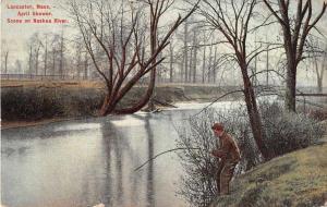 Lancaster Massachusetts April Shower Scene on Nashua River Postcard J51431