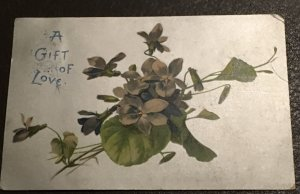 "Vintage silvered ""A Gift of Love"" Valentine postcard, 1904"