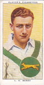 Player Vintage Cigarette Card Cricketers 1938 No 3 L G Berry Leicestershire