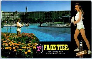 Las Vegas, Nevada Postcard FRONTIER HOTEL & Casino w/ Tennis & Pool Girls c1970s