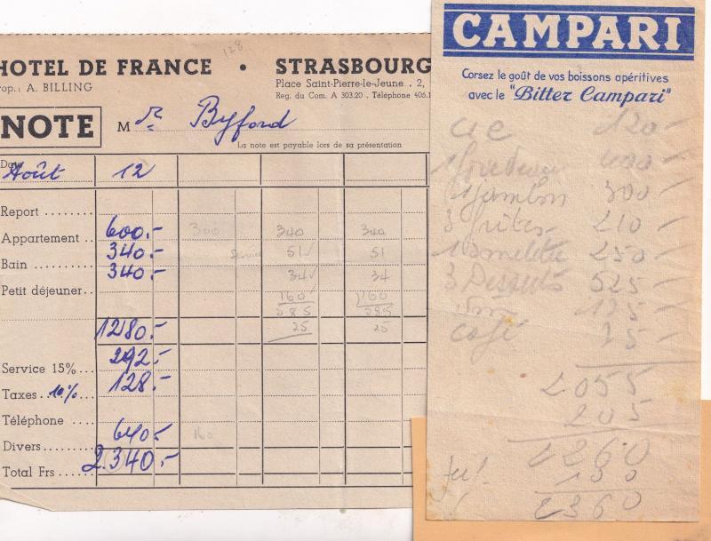 Strasbourg Hotel De France 1950s Campari 2x Receipt s