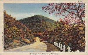 Lancaster Wisconsin~Car Driving on Road on Mountainside~Autumn Trees~1952 PC