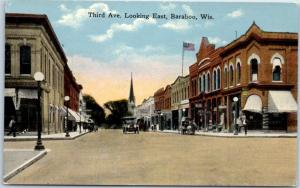 Baraboo, Wisconsin Postcard Third Ave Looking East Downtown Street Scene 1910s