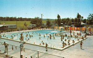 JOSLIN, IL Illinois  LANDIT'S LAKE PARK  Crowded Pool~Trailers ROADSIDE Postcard