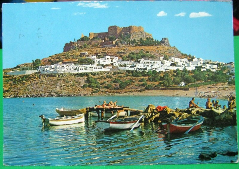 Greece Rhodes View of Lindos and the Acropolis - posted