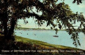 Massachusetts Amesbury Glimpse Of Merrimack River From Main Street Looking East
