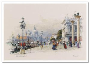 Old Europe Street Embankment SityScape by Detlev Nitschke Russian Postcard