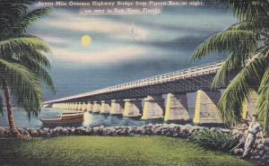 Seven Mile Oversea High Way Bridge From Pigeon Key At Night On Way To Key Wes...