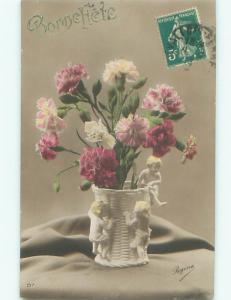 tinted rppc c1910 BEAUTIFUL FLOWERS AC9106
