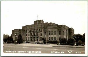 Olympia, Washington RPPC Real Photo Postcard THURSTON COUNTY COURTHOUSE c1940s