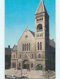 Unused 1950's OLD CARS & CHURCH SCENE Des Moines Iowa IA p4088