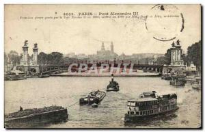 Paris - 7 - Alexandre III bridge - boat - boat Old Postcard