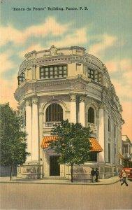 Linen Postcard; Banco de Ponce Bank Building, Ponce Puerto Rico unposted