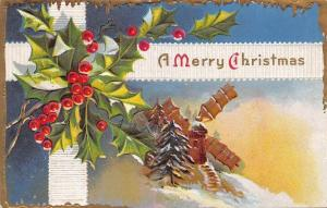 Merry Christmas Ribbon~Dutch Windmill~Holly Berry~Gold Icicle Border~Emboss~1908
