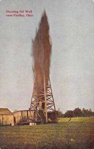 Findlay Ohio Shooting Oil Well Antique Postcard J73991