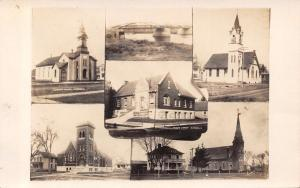 Marengo Iowa~Multi Mini View~Churches~Bridge~Houses~Parsonage~Library~1909 RPPC