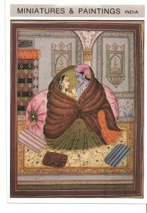Postal 039606 : Miniatures & Paintings India. Lord Krishna and Radha together...