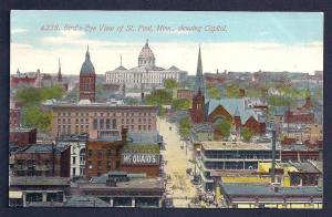 St Paul birdseye view w/Capitol Minnesota unused c1910's