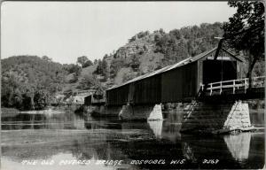 Boscobel Wisconsin~Old Covered Bridge~c1960 Real Photo Postcard~RPPC
