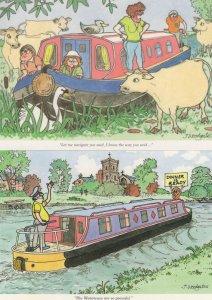 Northampton Waterways Canal 2x Comic Postcard s