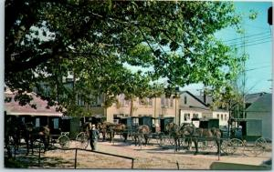 Sugarcreek Ohio Postcard OLD FASHIONED PARKING LOT Swiss Festival Horses 1960s