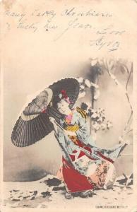 Japan Geisha Beauty in Snow Umbrella (Straits Settlements Stamp) Postcard 1904