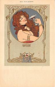 Beautiful Woman Wine Fritz Rehm Artist Munchen Art Nouveau Postcard