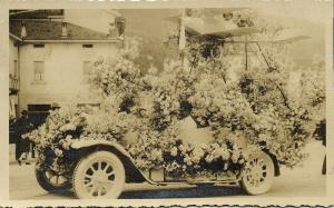Decorated Old Car with attached Little Airplane (1930s) RPPC Postcard