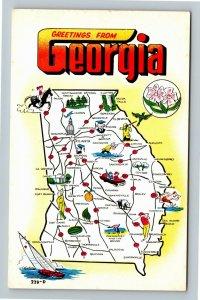 GA-Georgia, Map of State Cities & Comic LAFF GRAM, Chrome Postcard