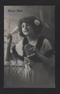 postcar GLAMOUR GIRL 1910years WINE CHAMPAGNE & new year CLOCK  z1