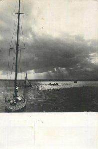 Romania Mamaia inserare pe siut ghiol lac barca Postcard