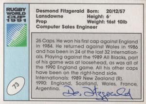 Desmond Fitzgerald Ireland Hand Signed Rugby 1991 World Cup Card Photo